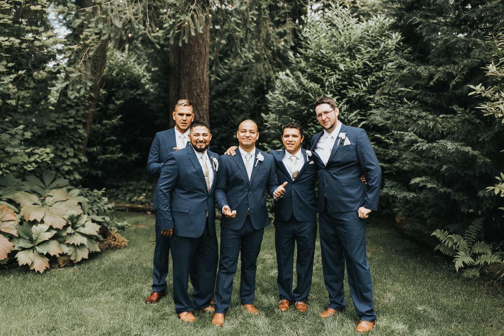 Groom Suit Navy Blue Groomsmen Greenhouse Garden Washington Wedding Beginning and End Photography