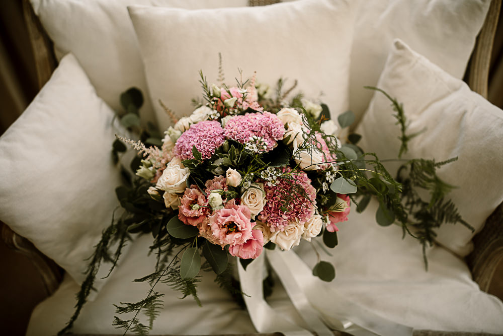 Pink White Rose Bouquet Bridal Lartington Hall Wedding Hayley Baxter Photography