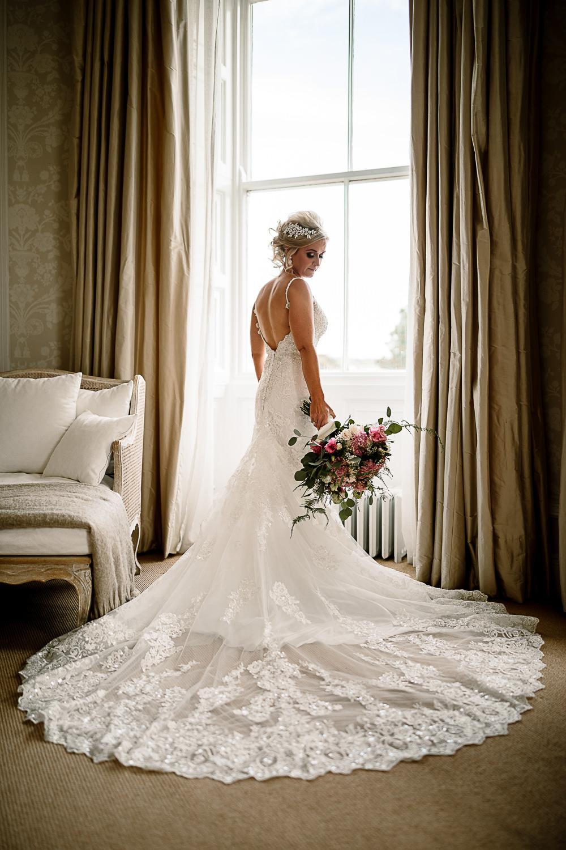 Bride Bridal Dress Gown Spaghetti Strap Lace Train Veil Hair Piece Pink White Large Eucalyptus Bouquet Lartington Hall Wedding Hayley Baxter Photography