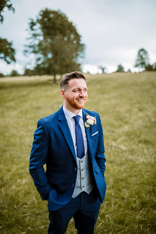 Navy Suit Grey Bib Waistcoat Groom Lartington Hall Wedding Hayley Baxter Photography