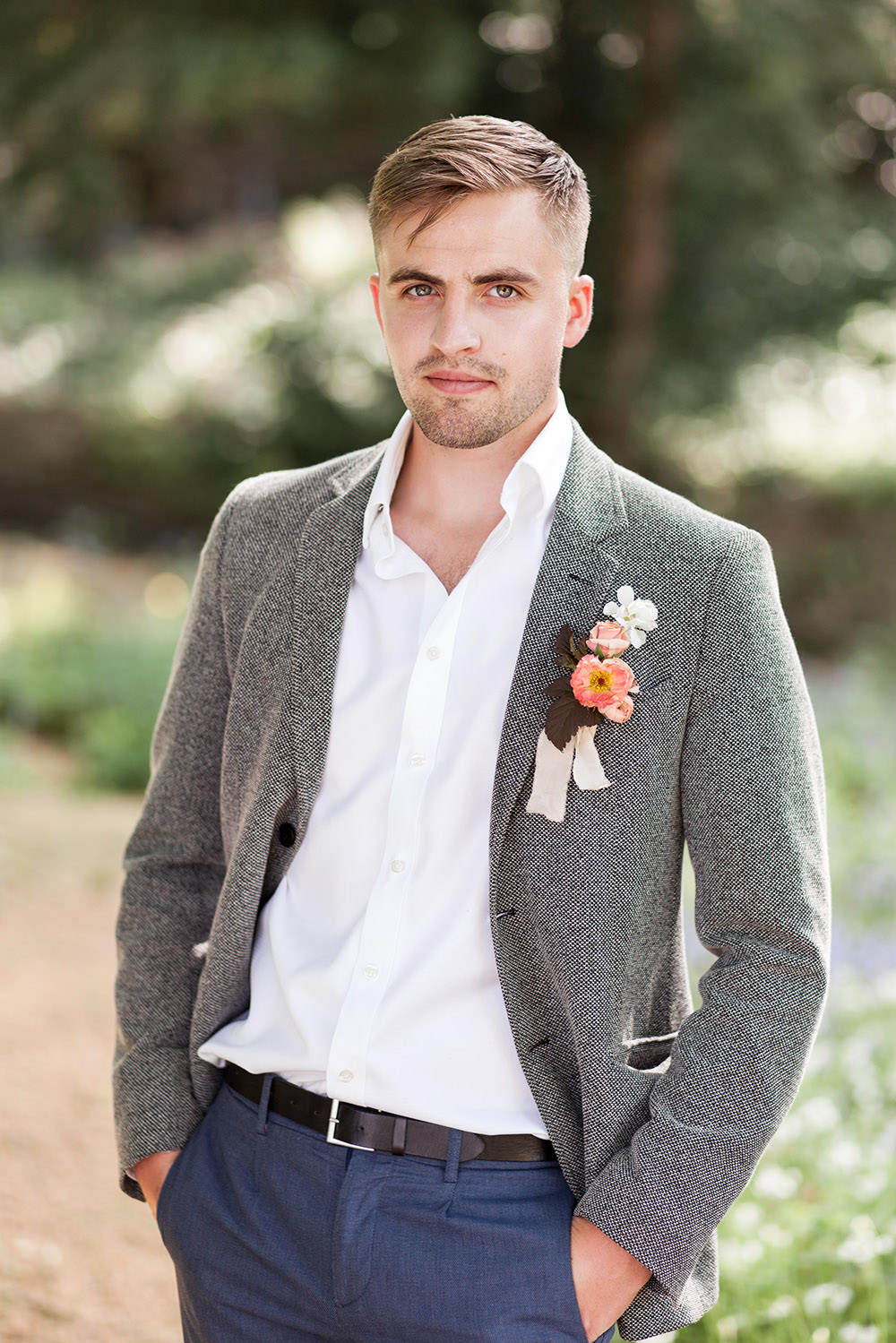 Groom Suit Grey Open Collar Shirt Coral Buttonhole Light Airy Summer Wedding Ideas Charlotte Palazzo Photography