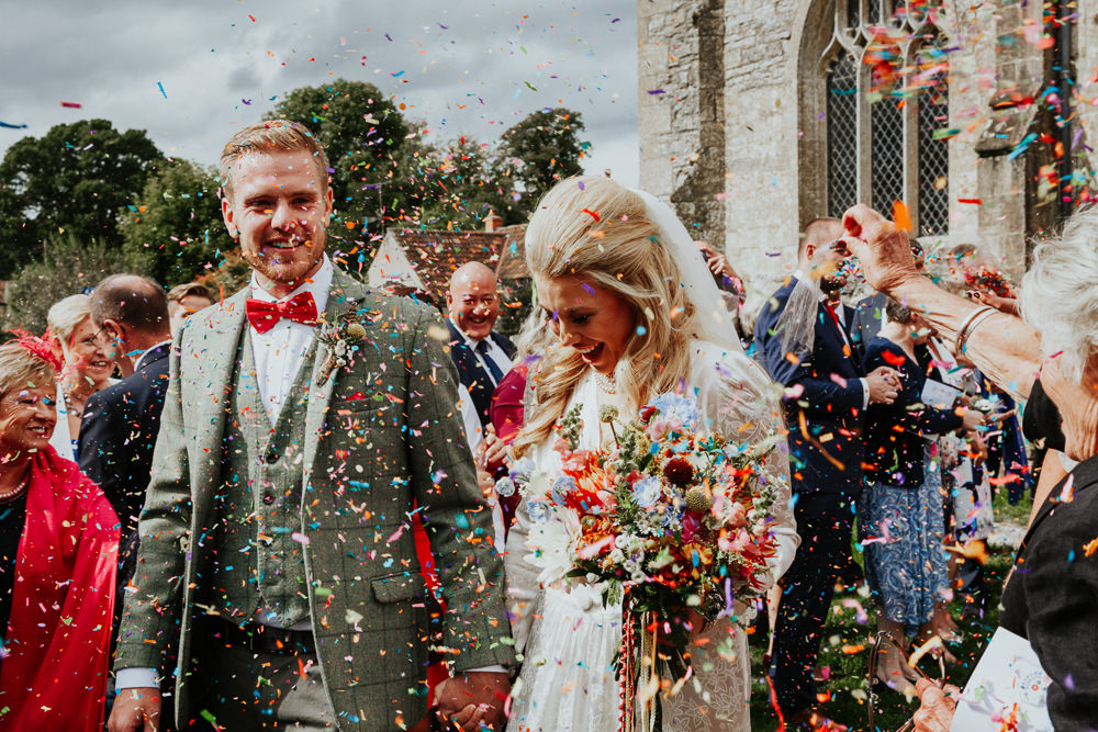Confetti Throw Pennard House Wedding Oxi Photography