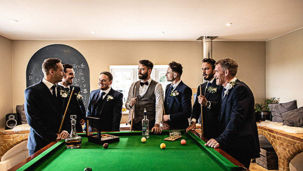 Groom Groomsmen Outfits Suits Waistcoat Bow Tie Navy Rustic Botanical Barn Wedding Lorna Newman Photography