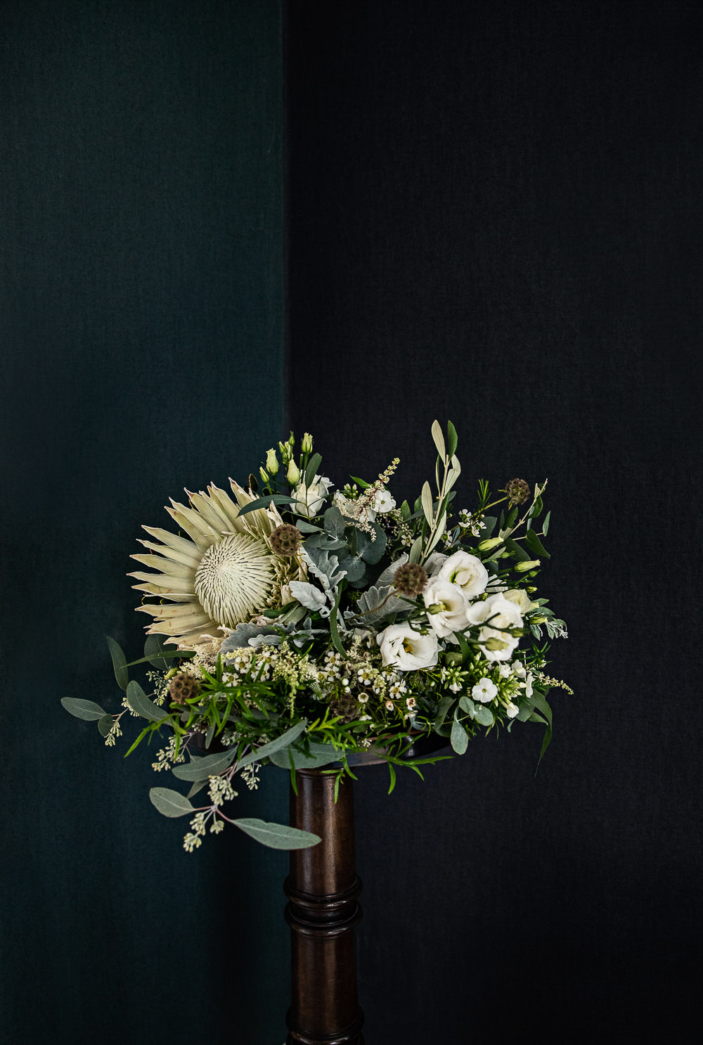 Bouquet Flowers Bride Bridal Protea Greenery Foliage Cream Lithianthus Rustic Botanical Barn Wedding Lorna Newman Photography