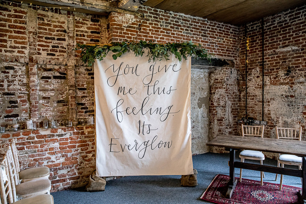 Sign Banner Calligraphy Lettering Fabric Greenery Love Quote Rustic Botanical Barn Wedding Lorna Newman Photography