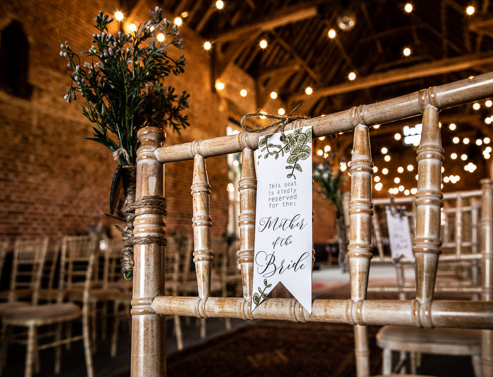 Chair Sign Banner Stationery Reserved Rustic Botanical Barn Wedding Lorna Newman Photography