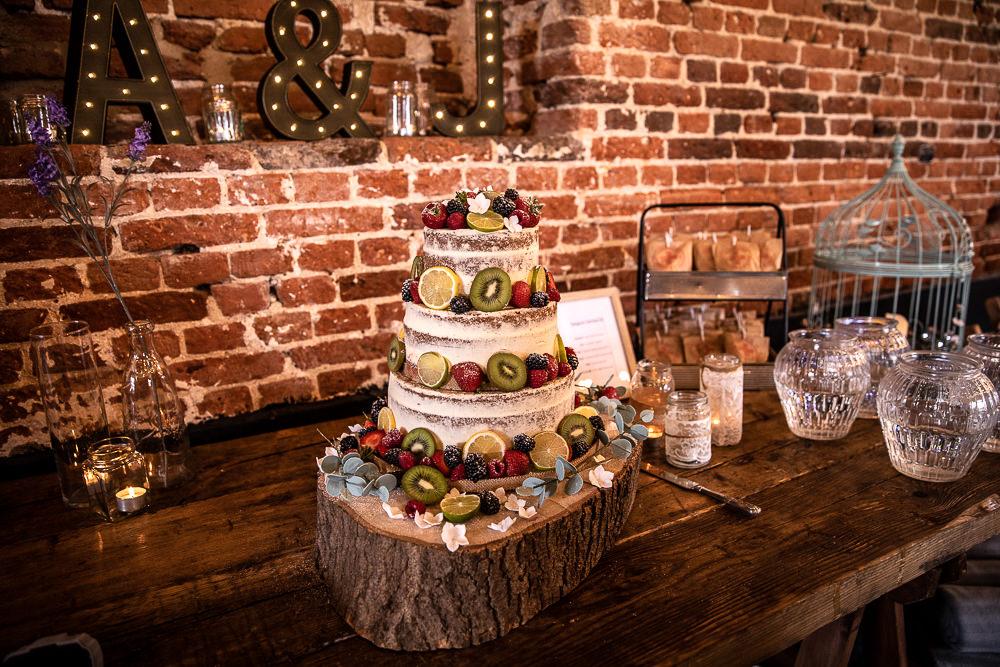 Naked Cake Layer Sponge Fruit Log Stand Rustic Botanical Barn Wedding Lorna Newman Photography