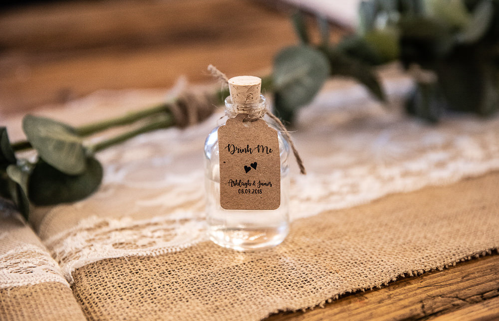 Mini Drink Bottle Favours Rustic Botanical Barn Wedding Lorna Newman Photography