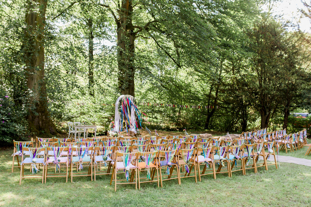 Outdoor Ceremony Ribbon Back Chair Multicoloured Spring Cottage Rivington Wedding Emma B Photography