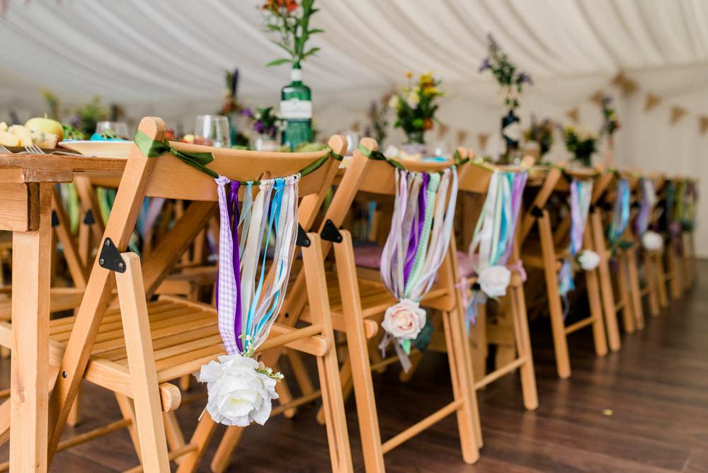 Ribbon Back Chair Multicoloured Spring Cottage Rivington Wedding Emma B Photography
