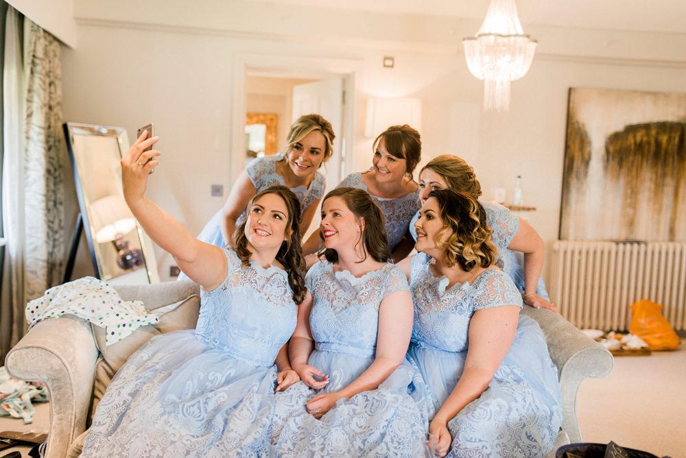 Powder Baby Blue Lace Tea Length Dresses Bridesmaids Spring Cottage Rivington Wedding Emma B Photography