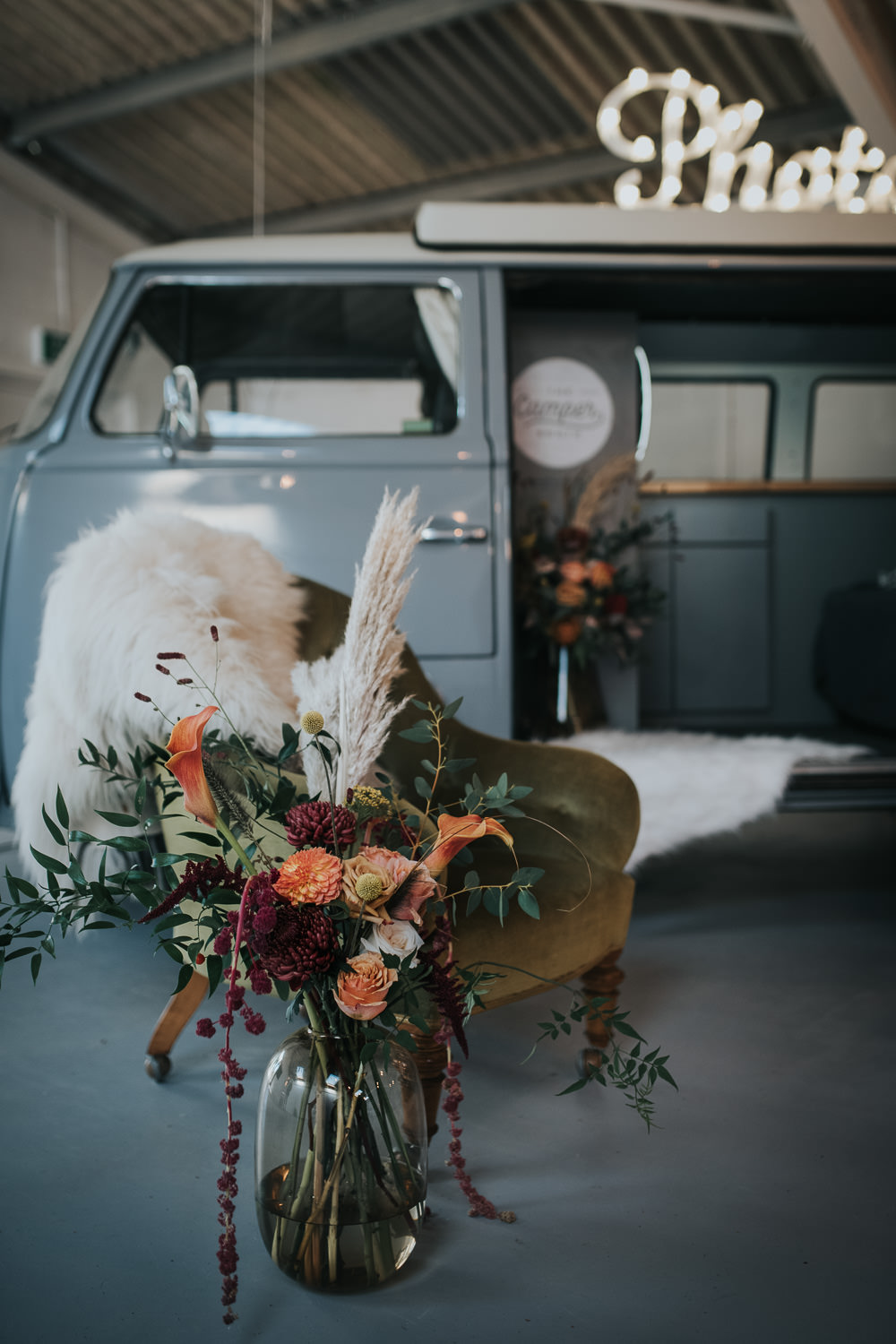 Flowers Mustard Tan Orange Burgundy Calla Lily Pampas Grass Dahlia Chrysanthemum 1970 Retro Mid Century Wedding Ideas Laura Martha Photography
