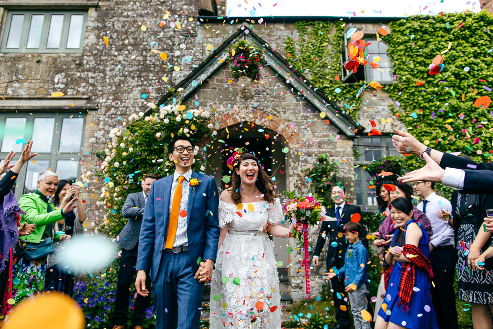 Confetti Throw Ash Barton Estate Wedding Jordanna Marston Photography