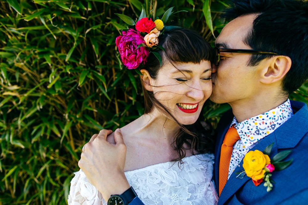 Flowers Hair Bride Bridal Style Fringe Bangs Ash Barton Estate Wedding Jordanna Marston Photography