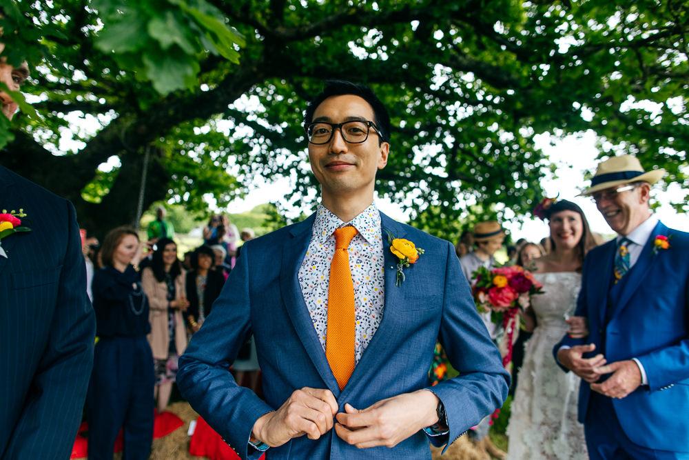 Groom Suit Orange Tie Floral Shirt Ash Barton Estate Wedding Jordanna Marston Photography