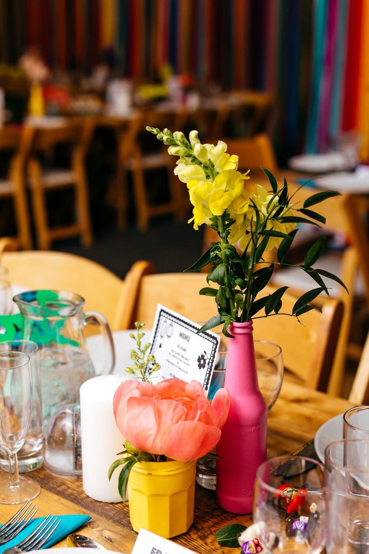 Painted Bottle Flowers Decor Table Centrepiece Rainbow Ash Barton Estate Wedding Jordanna Marston Photography