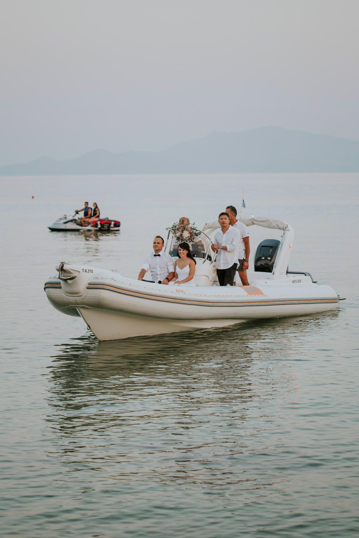 Boat Transport Bohemian Beach Greece Destination Wedding Lighthouse Photography