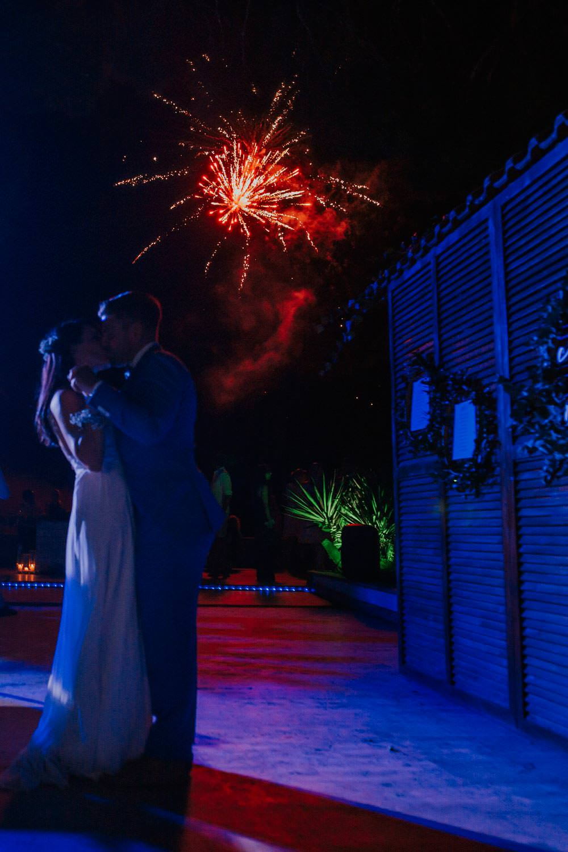 Fireworks Bohemian Beach Greece Destination Wedding Lighthouse Photography