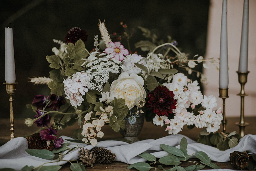 Table Flowers Tablescape Wild Natural Arrangement Centrepiece Bohemian Woodland Wedding Ideas Lola Rose Photography