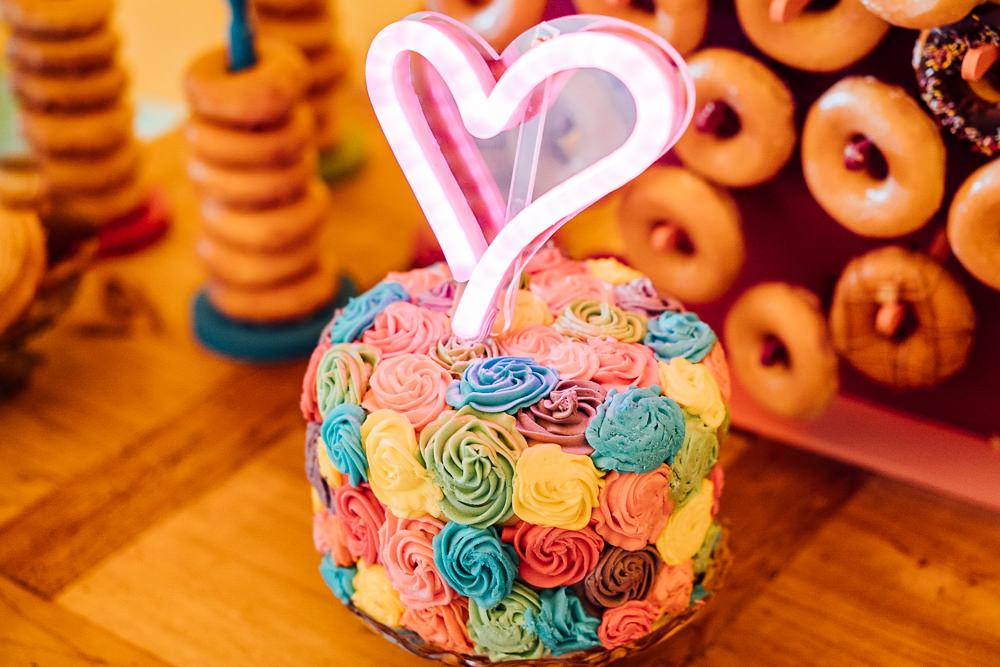 Cake Neon Heart Sign Topper Colourful Tipi Garden Wedding Fairclough Studios