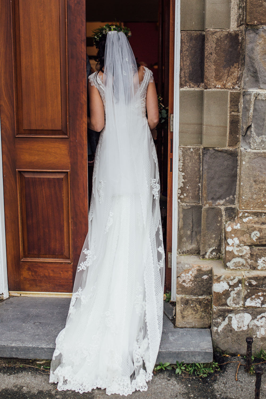 Flower Crown Bride Bridal Dress Gown Charlotte Balbier Lace Straps Veil Druidstone Wedding Florence Fox Photography