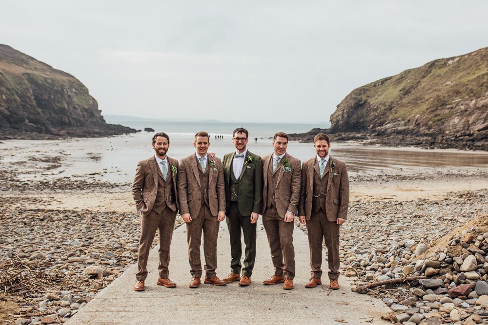 Groom Groomsmen Suits Brown Tweed Green Ties Druidstone Wedding Florence Fox Photography