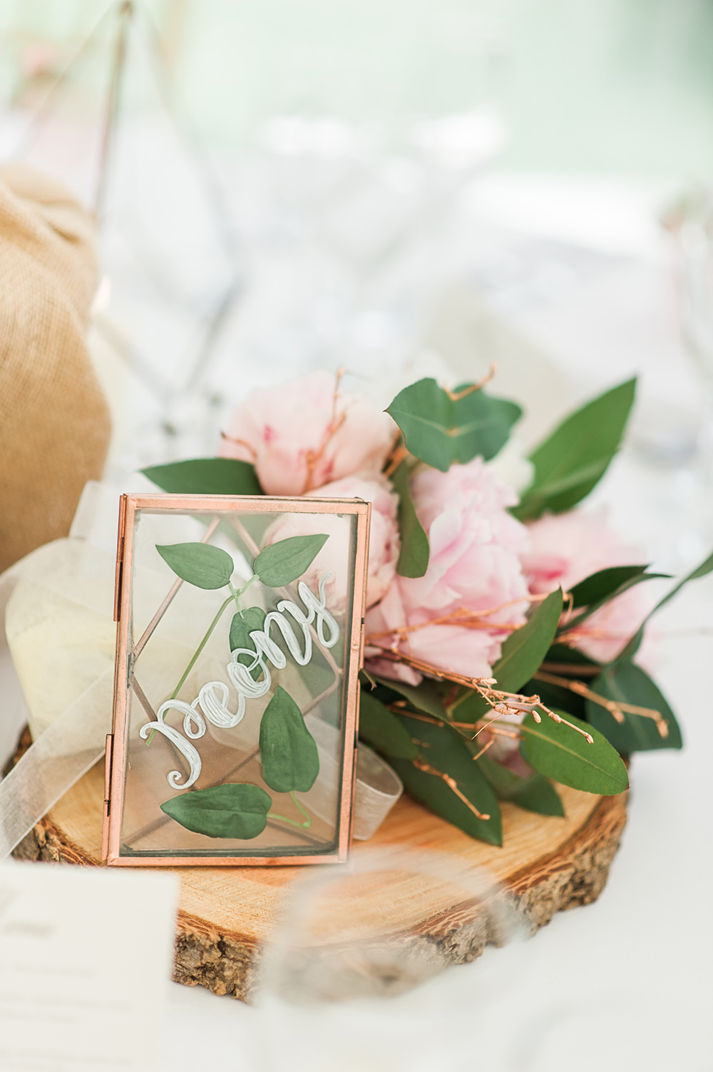 Table Name Wood Slice Frame Calligraphy Glass Edmondsham House Wedding Darima Frampton Photography