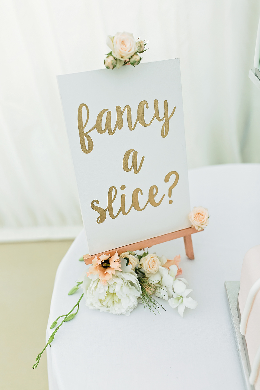 Fancy A Slice Cake Sign Easel Rose Edmondsham House Wedding Darima Frampton Photography