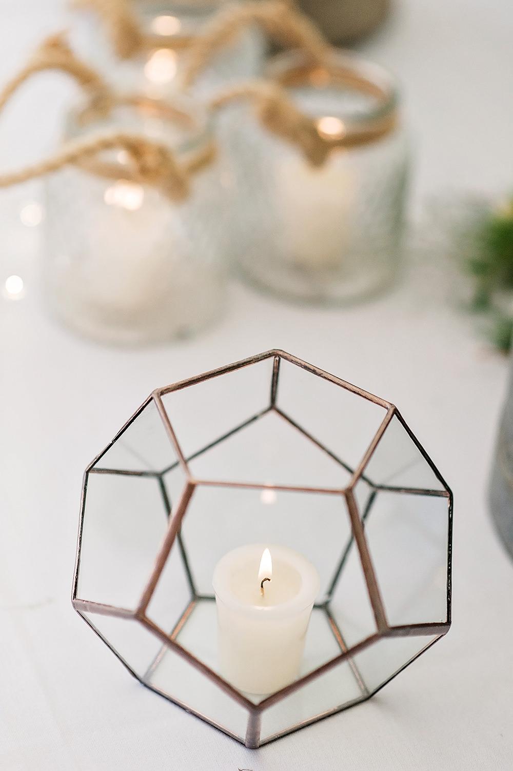 Geometric Candle Holder Edmondsham House Wedding Darima Frampton Photography