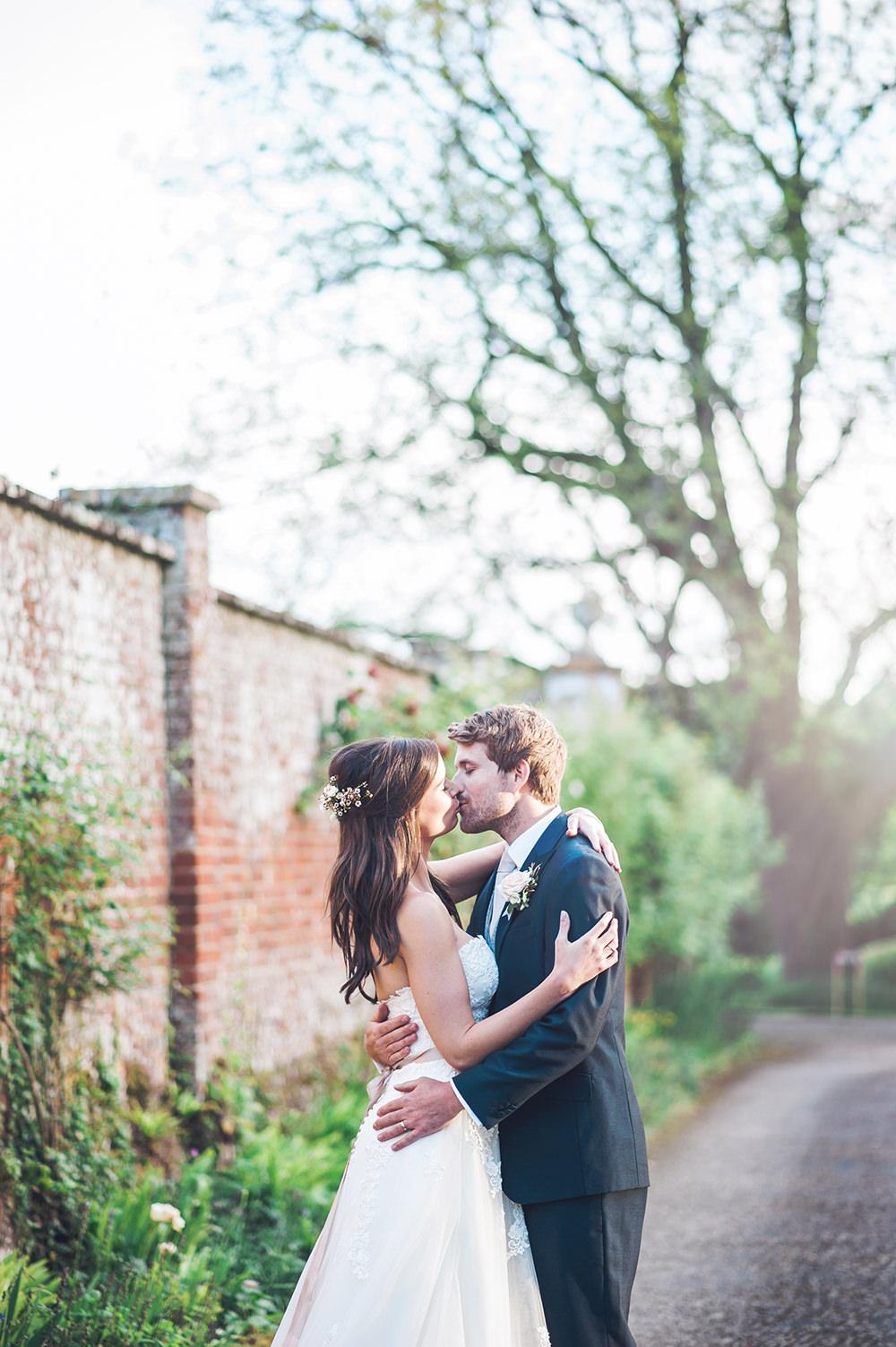Bride Bridal Gown Dress Strapless Sweetheart Neckline Ribbon Belt Pink Blue Suit Groom Edmondsham House Wedding Darima Frampton Photography