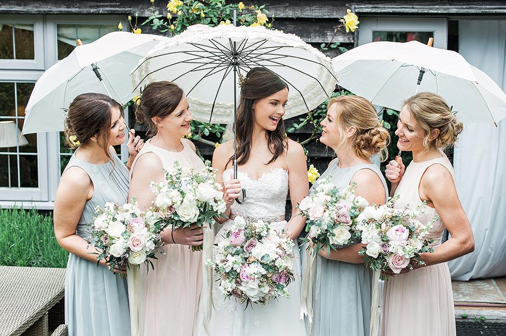 Bride Bridal Gown Dress Strapless Sweetheart Neckline Ribbon Belt Pink Pastel Mismatched Bridesmaids Edmondsham House Wedding Darima Frampton Photography