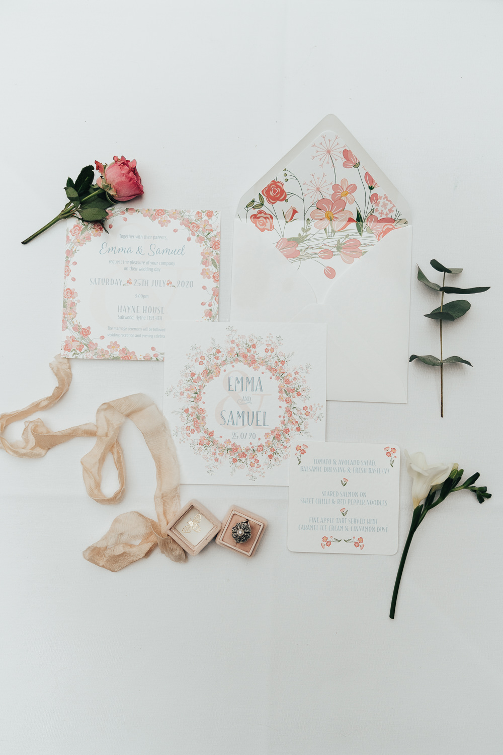 Stationery Invites Invitations Flat Lay Ribbon Flowers Floral Envelope Hoop Wedding Ideas Rebecca Carpenter Photography