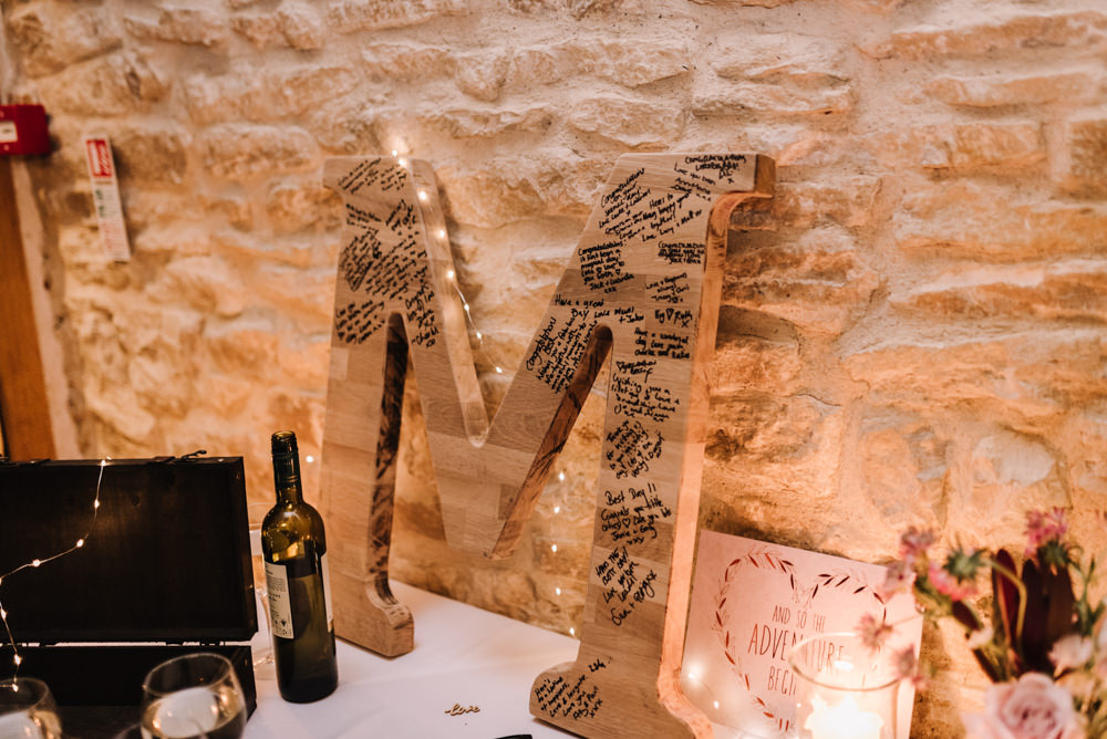 Letter Initial Wooden Guest Book Sign Kingscote Barn Wedding Oobaloos Photography