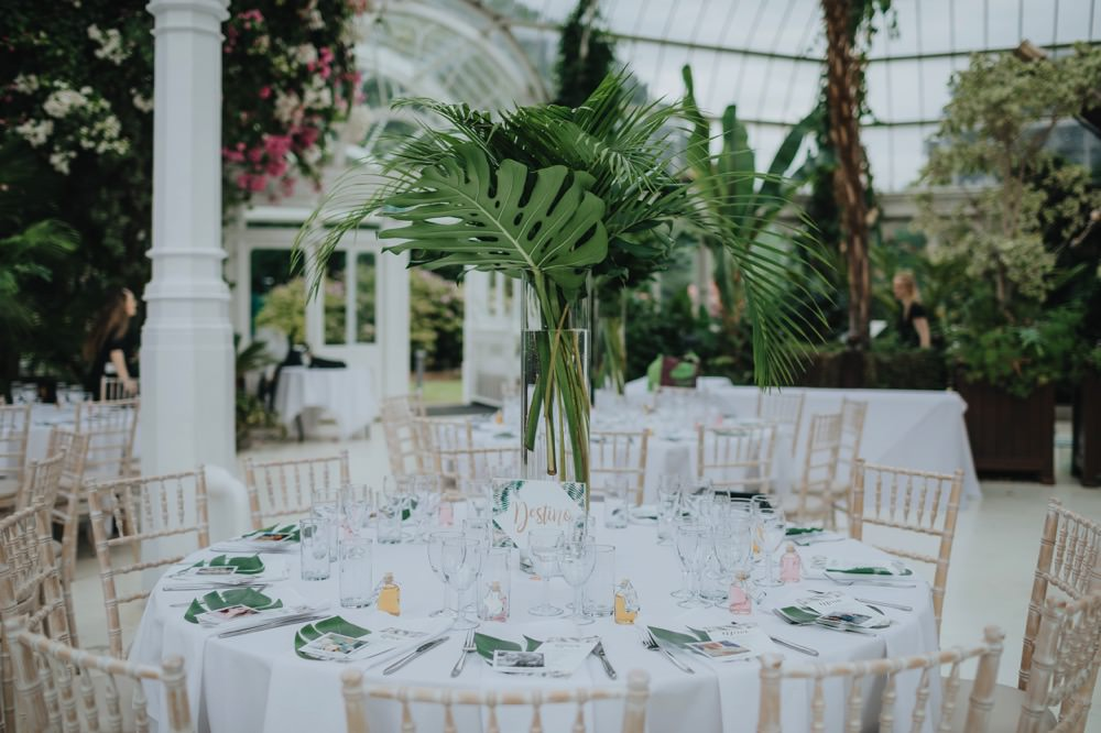 Table Flowers Centrepiece Tropical Palm Leaves Sefton Park Wedding Bloom Weddings