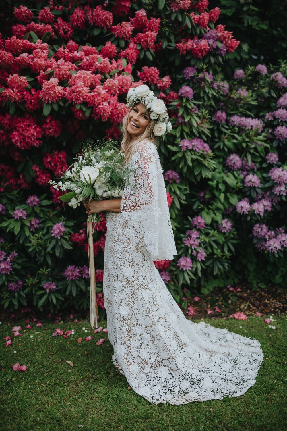 Dress Gown Bride Bridal Lace Cape Sleeves Sarah Seven Train Sefton Park Wedding Bloom Weddings
