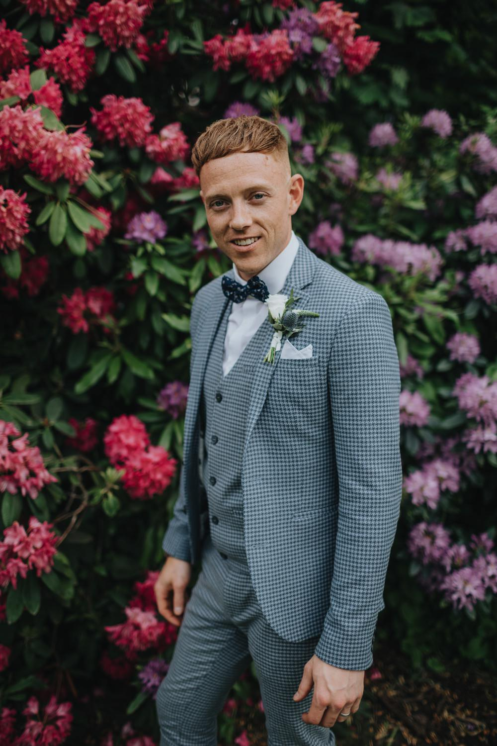 Sefton Park Wedding Bloom WeddingsGroom Suit Blue Bow Tie Check
