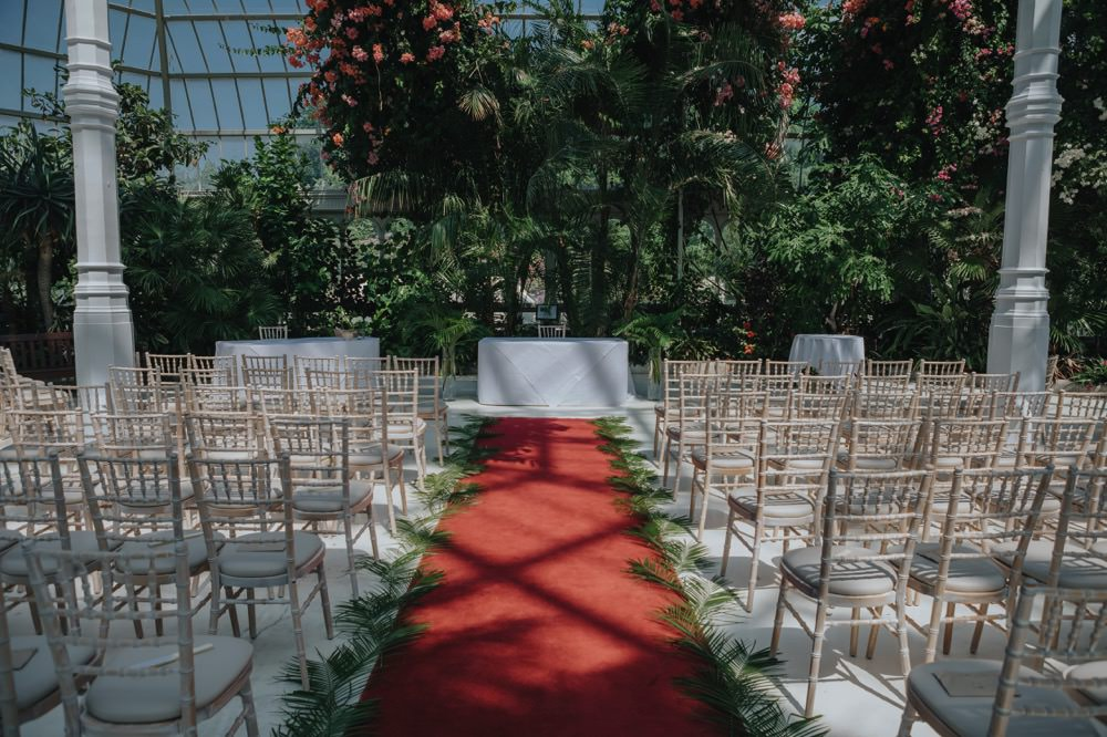 Palm Leaf Aisle Chairs Cermony Sefton Park Wedding Bloom Weddings