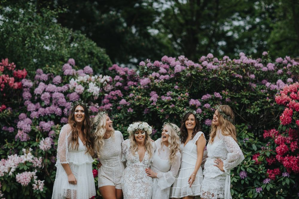 Bridesmaids Bridesmaid Dress Dresses Boho Bohemian White Lace Flower Crowns Sefton Park Wedding Bloom Weddings