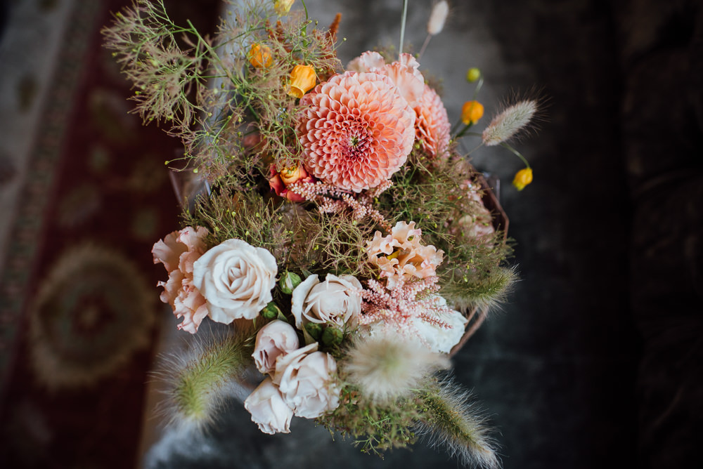 Bouquet Flowers Bride Bridal Pink Dahlia Rose St Paul's Cathedral Wedding The Shannons Photography