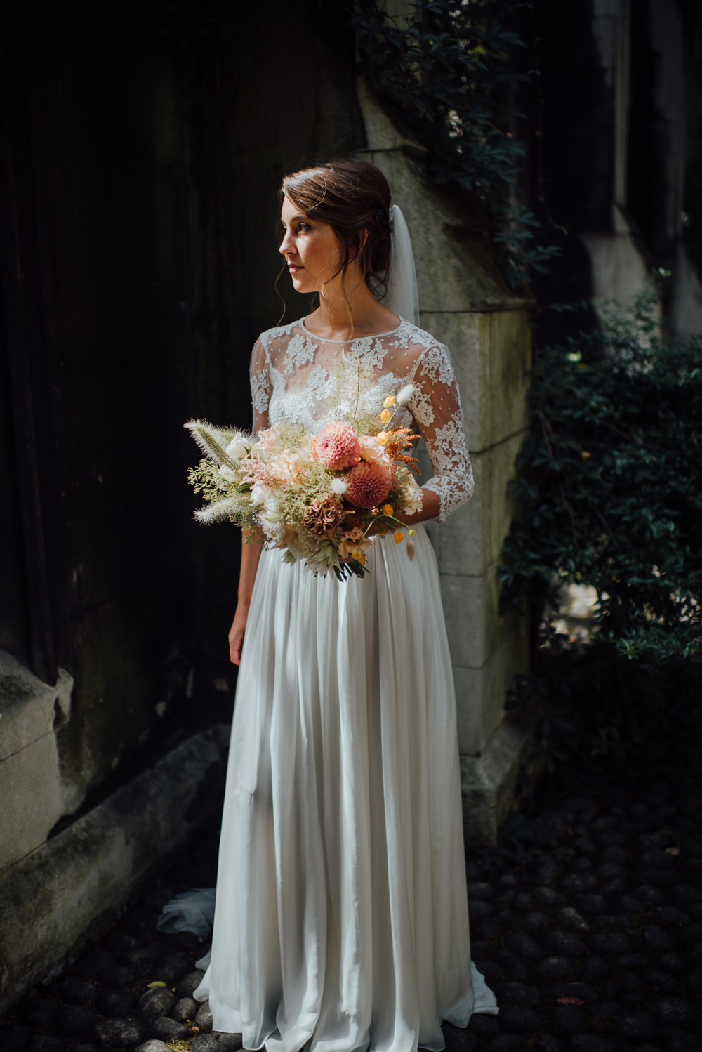 Dress Gown Bride Bridal Veil Lace Sleeves Open Back St Paul's Cathedral Wedding The Shannons Photography