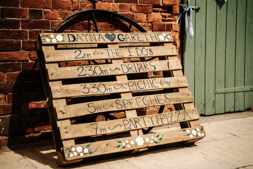 Pallet Welcome Sign Timings DIY Stanford Farm Wedding Andy Griffiths Photography