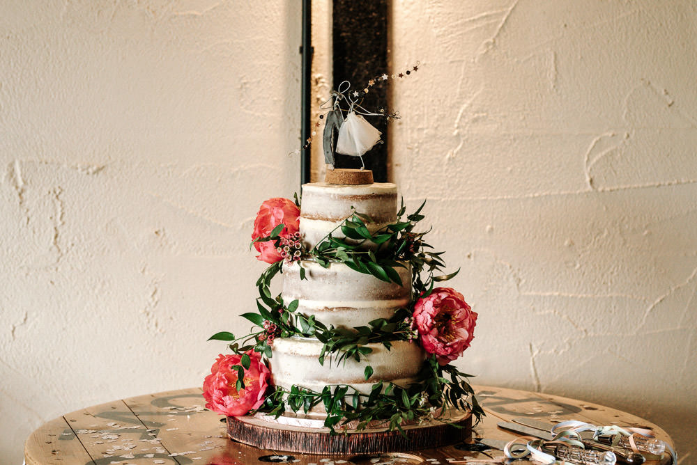 Semi Naked Buttercream Cake Topper Foliage Peony Wood Slice Log Stanford Farm Wedding Andy Griffiths Photography