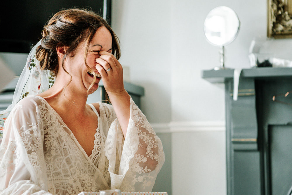 Bride Bridal Lace Gown Robe Getting Ready Stanford Farm Wedding Andy Griffiths Photography