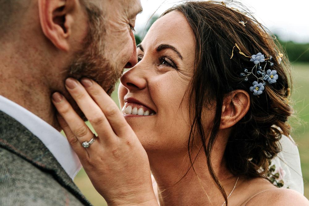 Hair Blue Vine Flower Veil Stanford Farm Wedding Andy Griffiths Photography