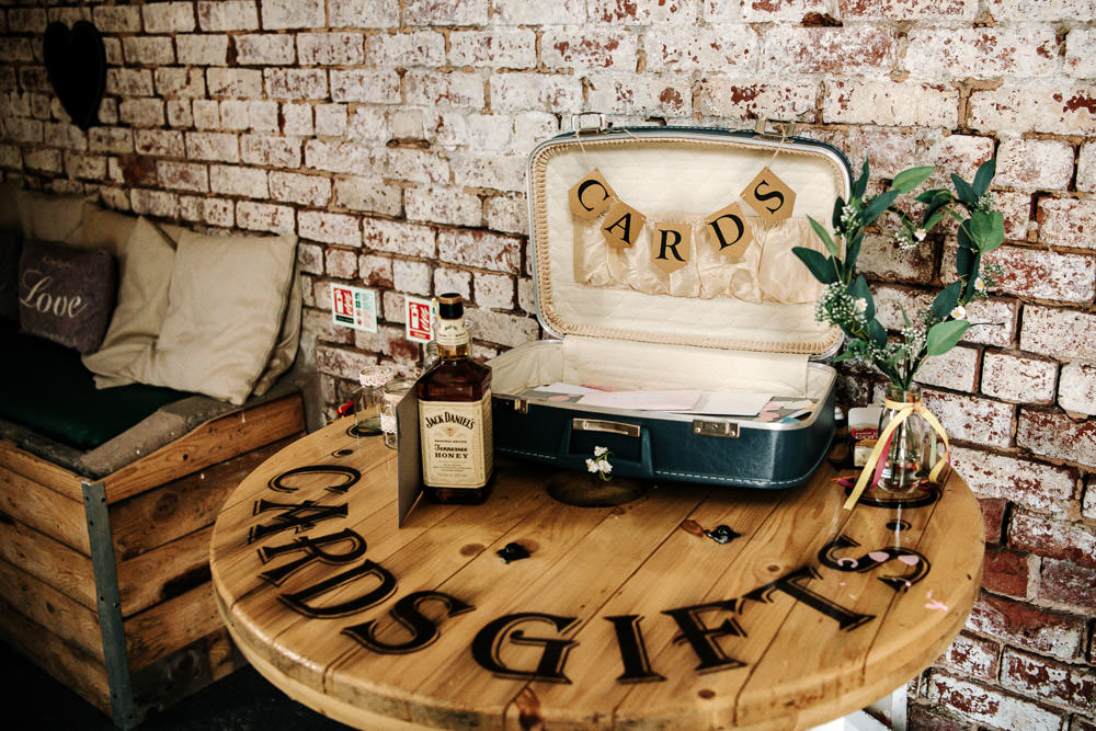 Cards Gifts Table Spool Suitcase Vintage Stanford Farm Wedding Andy Griffiths Photography