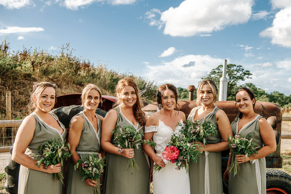 Bride Bridal Dress Gown Lace Detail Drop Cold Shoulder Ribbon Bow Sleeveless Sage Bridesmaids V Neck Floral Veil Stanford Farm Wedding Andy Griffiths Photography