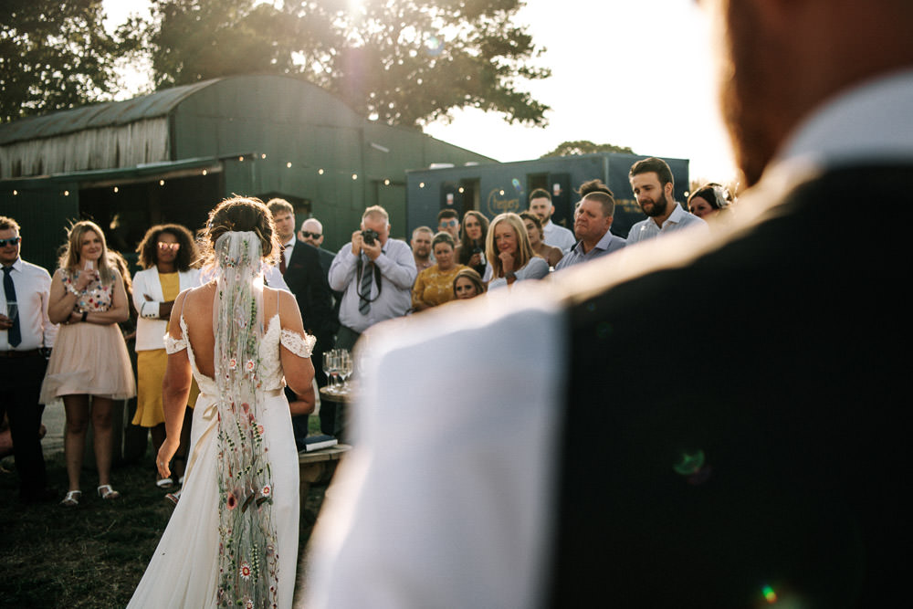 Bride Bridal Dress Gown Lace Detail Drop Cold Shoulder Ribbon Bow Sleeveless Floral Veil Stanford Farm Wedding Andy Griffiths Photography