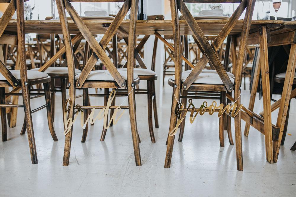 Gold Laser Cut Chair Names Bride Groom Wimborne House Wedding Eva Photography