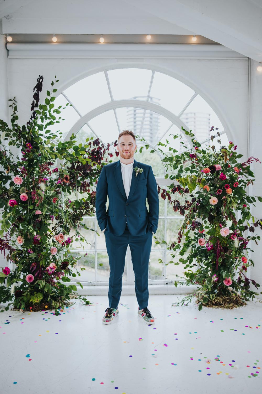 Groom Suit Green Floral Trainers Grandad Collar Shirt Wimborne House Wedding Eva Photography