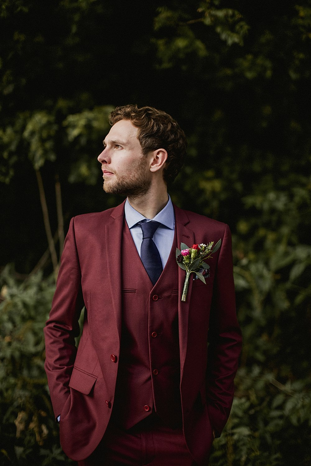 Groom Suit Burgundy Navy Tie Abbeydale Picture House Wedding We Are Da Silva